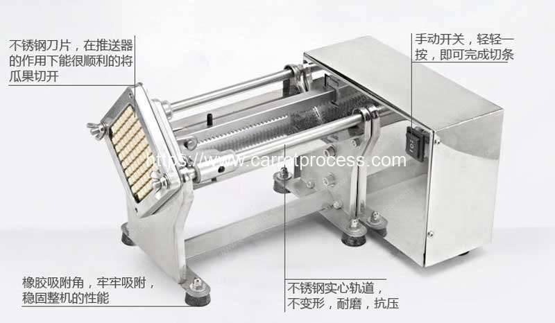 Semi-Automatic-Pushing-Type-Long-Carrot-Stick-Cutting-Machine